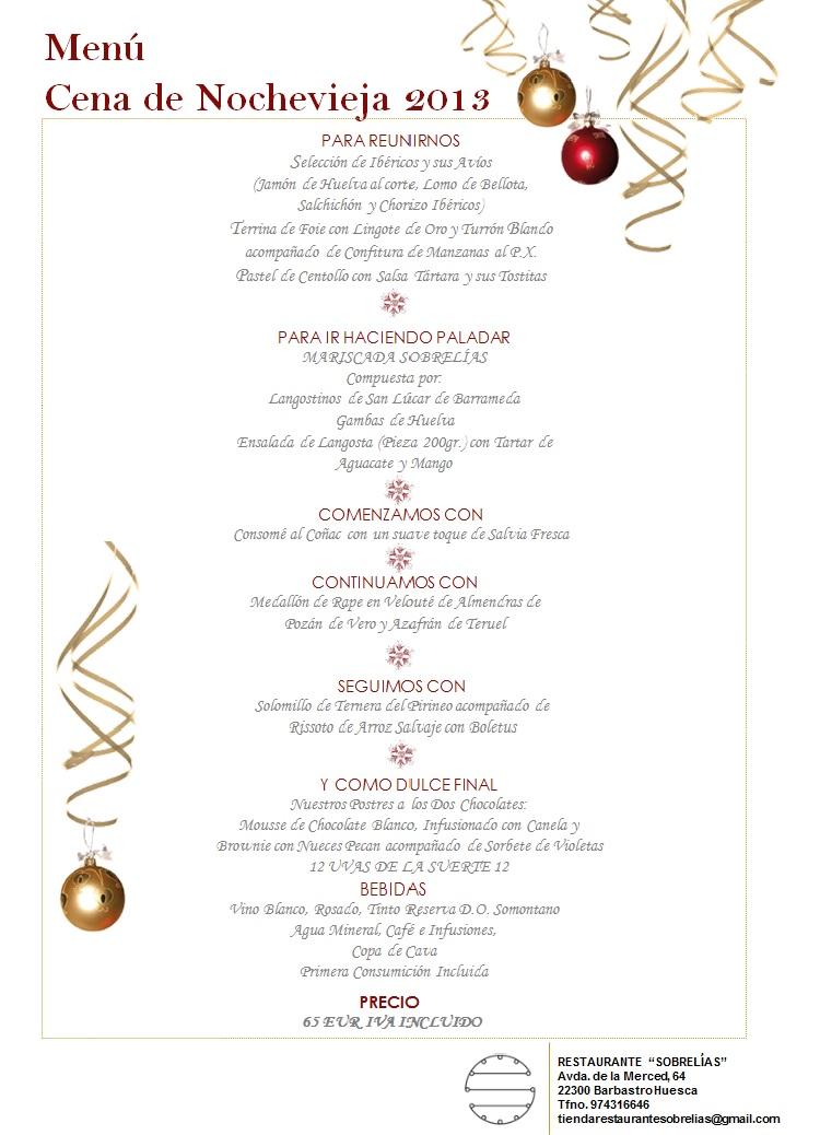 Asociacion de maitres y profesionales de sala de aragon - Menu cena de nochevieja ...